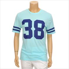 Topten10 Men's Cool Skyblue 38 Letters Sleeve Line Cotton Round T-shirt (M size) #Topten10 #GraphicTee