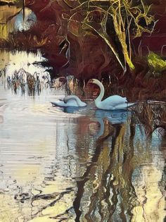 Swans Swans, Artsy, Painting, Painting Art, Paintings, Painted Canvas, Drawings