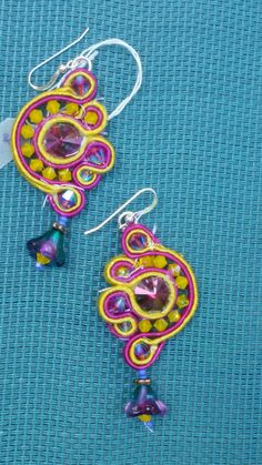 Crystal and soutache earrings