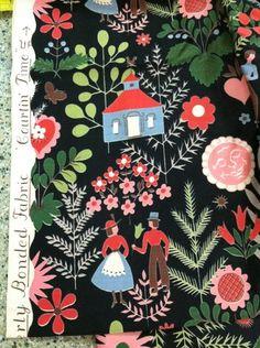 "Vintage Waverly Bonded Glosheen Fabric "" Courtin"" Time """