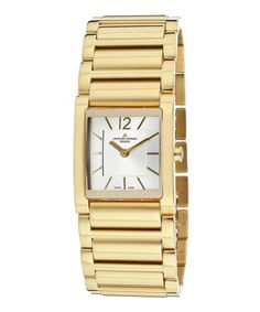 Another great find on #zulily! Gold Integral Bracelet Watch by Jacques Lemans #zulilyfinds