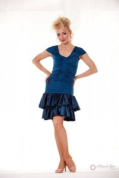 Natural Spin Signature Latin Skirt:  LS05_BLUE
