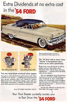 1954 Ford Crestline Victoria...the first car I remember as a 5 year old.  Ours was bright yellow with a grass green top.  Seriously.