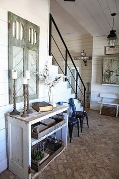 =Texas Farmhouse / home of Chip and Joanna Gaines, Crawford, Texas love the brick and all the white shiplap - indoorlyfe