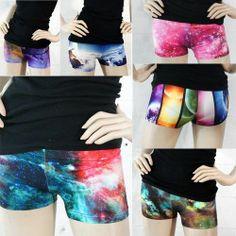 Galaxy Cosmic Digital Print Space Hipster Mini Shorts Clubwear Tight Cheeky USA | eBay
