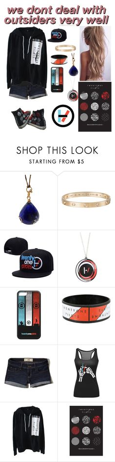 """""""💎Sapphire💎 Bellamy take Sapphire to a Twenty One Pilots concert AU"""" by rroyalserena ❤ liked on Polyvore featuring Federica Rettore, Cartier, Hot Topic, Hollister Co., BellamyBlake, sapphirequeen and bellhire"""