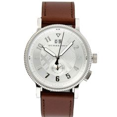 Original Burberry Mens Watch Antique Style Silver Leather Band BU7681 | RnBJewellery
