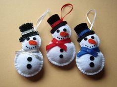 Felt christmas ornaments  snowman by DusiCrafts on Etsy, $6.00