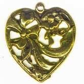 Vintage Miriam Haskell stamped gold plated brass hearts. 25mm Pkg. of 1. b9-0817(e)