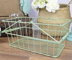 Homewares & Home Decor Online-Retro Metal Shopping Basket - Green-Home & Living