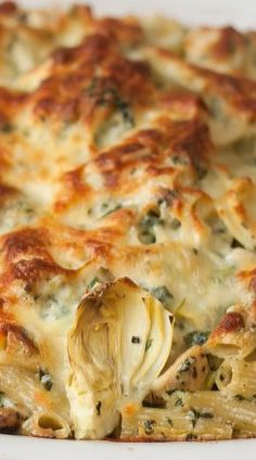 Chicken, Spinach and Artichoke Pasta Bake Baked Pasta Recipes, Chicken Pasta Recipes, Baking Recipes, Pasta Meals, Noodle Recipes, Pasta Dishes, Spinach Artichoke Pasta, Artichoke Chicken, Turkey Casserole