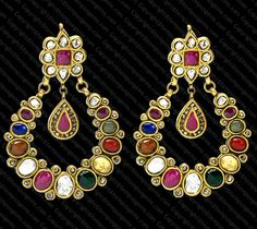 Earring with Navratan Stones set in 22k Gold. The 9 stones depict the 9 Planets.