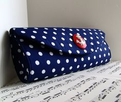 Nautical Navy blue and white polka dot purse with red anchor. Retro purse via Etsy
