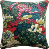 Shanghai Peacock Pillow in Cerise