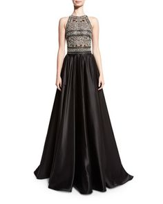Beaded+Racerback+Ball+Gown,+Black/Silver+by+Naeem+Khan+at+Neiman+Marcus.