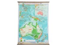 Vintage 1940s Denoyer Geppert Pull Down Map of Australia and Phillipin