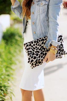 Leopard Clutch, White Dress & Denim Jacket