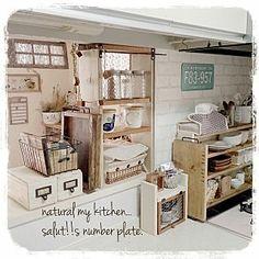 My Shelf/DIY/セリアリメイク/ナチュラル系/カフェトレイ♡/れんが壁紙...などのインテリア実例 - 2015-04-26 00:23:06