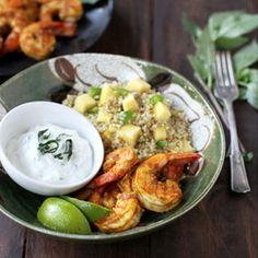 Curry Shrimp with Spicy Mango Quinoa, served with Thai Basil Yogurt Dip