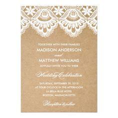 RUSTIC LACE   WEDDING INVITATION #wedding #zazzle #fineanddandypaperie
