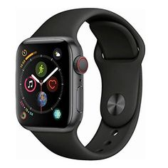 Apple Watch Series 4 (GPS + Cellular, - Space Black Stainless Steel Case with Black Sport Band Buy Apple Watch, Apple Watch Series 3, Apple Watch Bands, Ipad Pro 12, Apple Tv, Sport Watches, Watches For Men, Macbook Air 13 Pouces, Ecg App