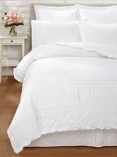 Amity Home Jenna Duvet Cover (White) Lightweight cotton with eyelet, ruffle, embroidery, pintuck and mesh inlay detailing; Duvet Sets, Duvet Cover Sets, Amity Home, White Duvet Covers, White Bedroom Furniture, Bedroom Styles, Bedroom Ideas, Eclectic Style, Image House