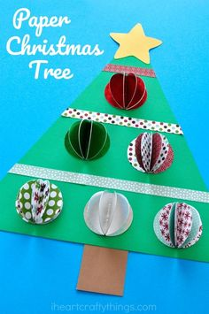Paper Christmas Tree Craft Beautiful Paper Christmas Tree Craft for kids. Great Christmas paper craft, Christmas tree craft for kids and Christmas art projects for kids. Christmas Art Projects, Christmas Crafts For Kids To Make, Christmas Activities For Kids, Christmas Paper Crafts, Preschool Christmas, Noel Christmas, Handmade Christmas, Holiday Crafts, Kids Crafts