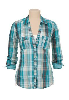 Button Down Plaid Shirt with Lurex available at #Maurices