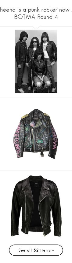 """""""Sheena is a punk rocker now // BOTMA Round 4"""" by frozendecembermoon ❤ liked on Polyvore featuring art, men's fashion, men's clothing, men's outerwear, men's jackets, jackets, outerwear, tops, leather jackets and mens zipper jacket"""