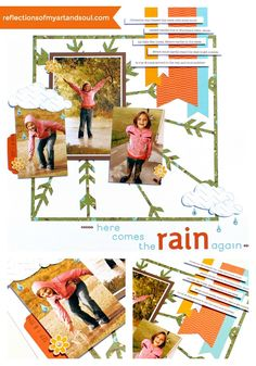 'Here Comes the Rain Again' CTMH Artbooking Scrapbook Page by Pamela O'Connor