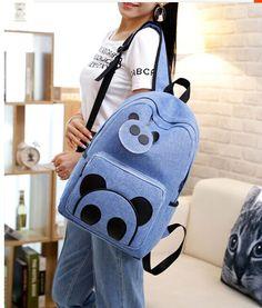 Cute blue panda backpack