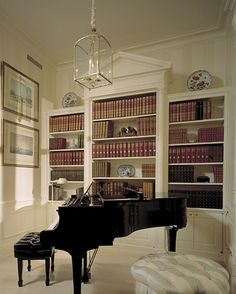 Library and Music Room with a Baby Grand Piano - TRISHA TROUTZ: Ferguson & Shamamian Part II