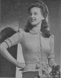 Knitting Pattern, Women's Knitted Top Pattern, Collar, Frills, Short or long sleeve, Instant Download, VINTAGE KNITTING, 1940s by McPhersonStVintage on Etsy