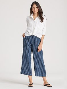 Our pinstripe wide-leg pant, in organic linen thats dyed for dimensional color. Cool Outfits, Casual Outfits, Fashion Outfits, Wide Pants Outfit, Hawaii Outfits, Wide Leg Linen Pants, Mature Fashion, Elegant Outfit, Rock