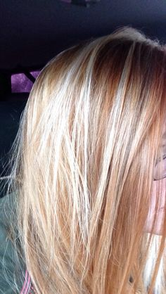 Orange red hair with blonde highlights...