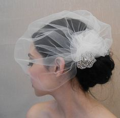 Tulle side birdcage veil with pouf and by glamorbydesign on Etsy, $65.00