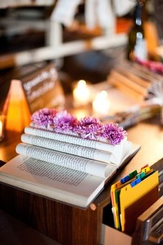 library card catalog table seating and book centerpieces by paige