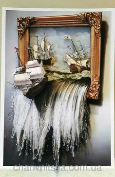 Ship on waterfall wall art, created with polymer clay and a bucket of patience & creativity, love this very detailed decor ❤ Art Mural 3d, Art Altéré, 3d Art, 3d Wall Art, Glue Art, Plaster Art, Mixed Media Canvas, Wall Sculptures, Medium Art