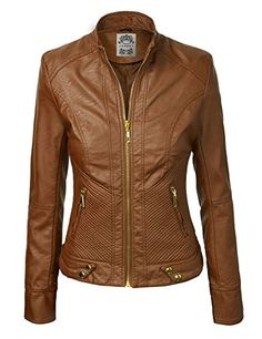 LL Womens Dressy Vegan Leather Biker Jacket L CAMEL *** You can get additional details at the image link.
