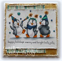 Can you even stand it how cute these penguins are on this jolly holiday card?!  Oooh this could make a great BIRTHDAY card too!!  Holiday Mini Sentiments