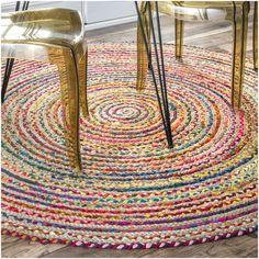 nuLOOM Casual Handmade Braided Cotton Jute Multi Round Rug (8' x 8' Round) (Multi), Size 8'