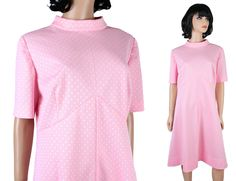 Vintage Disco Dress Sz XL 70s Pink White Polka Dot High Collar Cute Costume Free US Shipping by HepCatClothes on Etsy