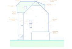 Vue de côté d'une maison pour l'insertion d'une fenêtre de toit réalisée avec AutoCAD Stage, Autocad, Line Chart, Architecture, Atelier, Home, Arquitetura, Architecture Illustrations, Scene