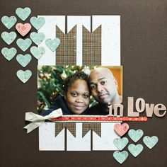 use simple shapes (hearts) from patterned paper as accent on a plain page