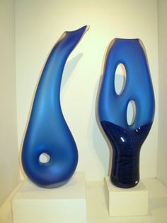 Cerulean Blue Hand blown glass sculpture by Bernard Katz. The Melange and Trans Terra Ceia organic forms working together in harmony.