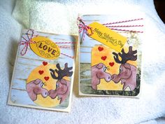 W Handmade Valentines Day card says Love or by MooseRiverCardShop