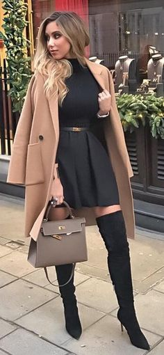 #winter #fashion /  Camel Coat + Black Dress
