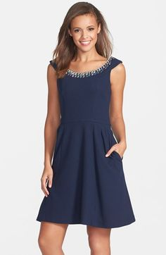 Free shipping and returns on Betsey Johnson Embellished Dobby Fit & Flare Dress at Nordstrom.com. Party-perfect jewels stud the wide scooped neckline of a swingy dobby-knit dress.
