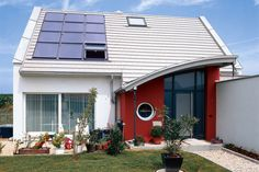 Pretty cool idea with the #white shed #roof and the #solar panels (with an integrated window!)