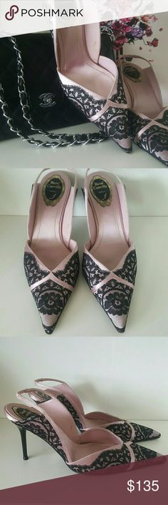 Rene Caovilla Black Floral Lace Slingback Pumps Very good vintage and pre-owned condition. Beautiful black floral lace over pink satin. Small blemish on the inside not visible when worn. Beautifully constructed shoe. Rene Caovilla Shoes Heels